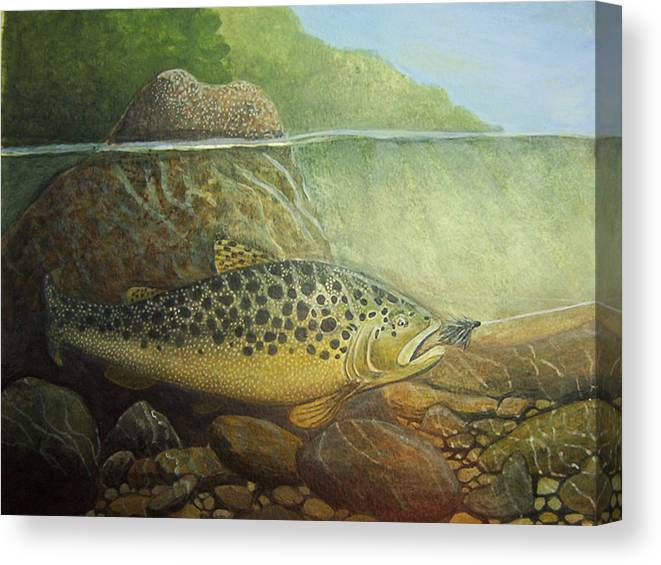 Rick Huotari Canvas Print featuring the painting Lurking by Rick Huotari