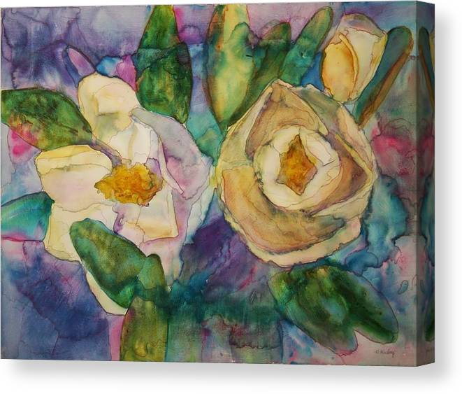 Flowers Canvas Print featuring the painting Magnolia Kaleidescope by Helen Hickey