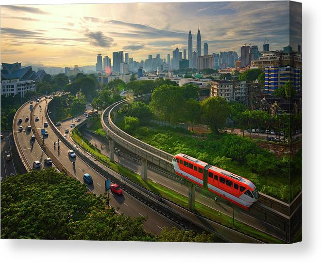 Train Canvas Print featuring the photograph Malaysia - Kuala Lumpur City by By Toonman