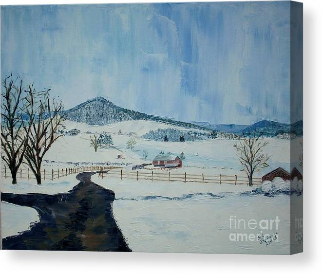 Mole Hill; Snow; Dark Driveway In Foreground Canvas Print featuring the painting March Snow on Mole Hill - SOLD by Judith Espinoza