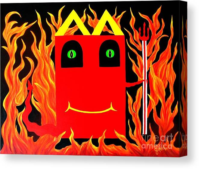 Red Canvas Print featuring the painting Mcdevil Happy Kill by JoNeL Art