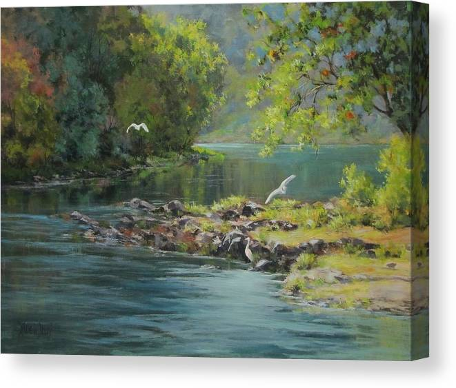 Acrylic Canvas Print featuring the painting Morning Gathering by Karen Ilari
