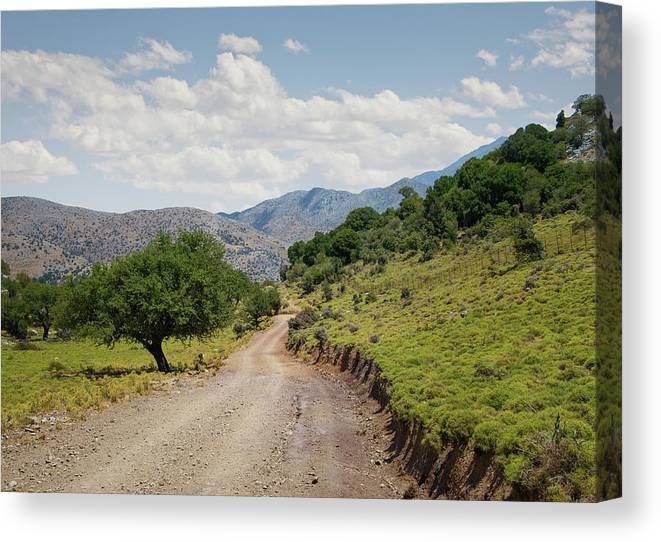 Tranquility Canvas Print featuring the photograph Mountain Dirt Road In Northern Crete by Ed Freeman