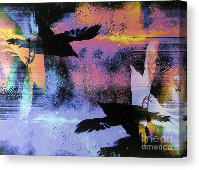 Shaman Canvas Print featuring the painting Nights Flight Towards Dawn by Linda Marcille