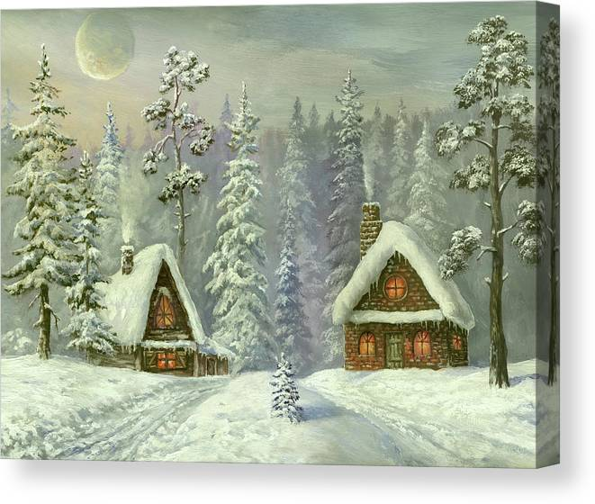 Art Canvas Print featuring the digital art Old Christmas Card by Pobytov
