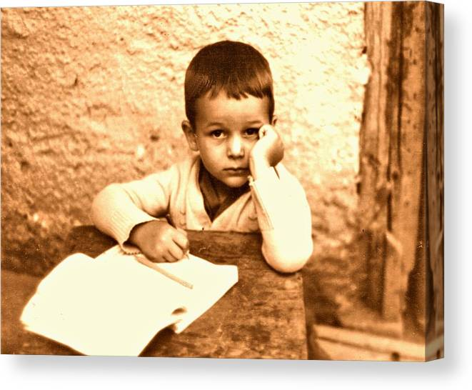Photography Canvas Print featuring the photograph Portrait of the Artist as a Young Boy by ITI Ion Vincent Danu