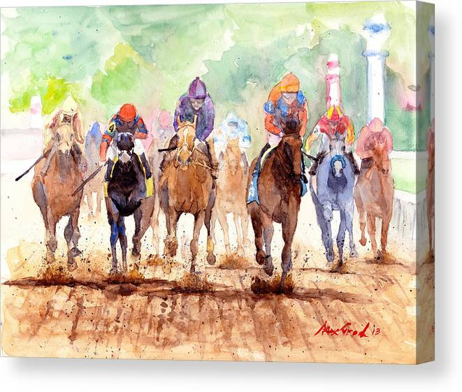 Landscape Canvas Print featuring the painting Race Day by Max Good