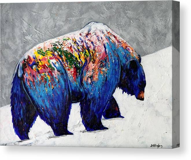 Wildlife Canvas Print featuring the painting Rainbow Warrior - Heavy Going Grizzly by Joe Triano