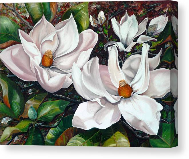 Magnolia Painting Flower Painting Botanical Painting Floral Painting Botanical Bloom Magnolia Flower White Flower Greeting Card Painting Canvas Print featuring the painting Scent Of The South. by Karin Dawn Kelshall- Best