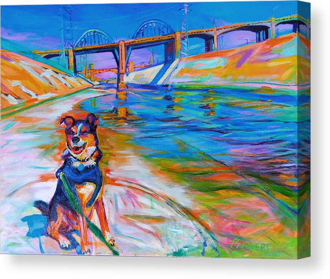 Dog Canvas Print featuring the painting Scout the River Guard by Bonnie Lambert