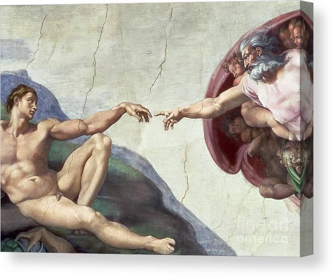Renaissance Canvas Print featuring the painting Sistine Chapel Ceiling by Michelangelo Buonarroti