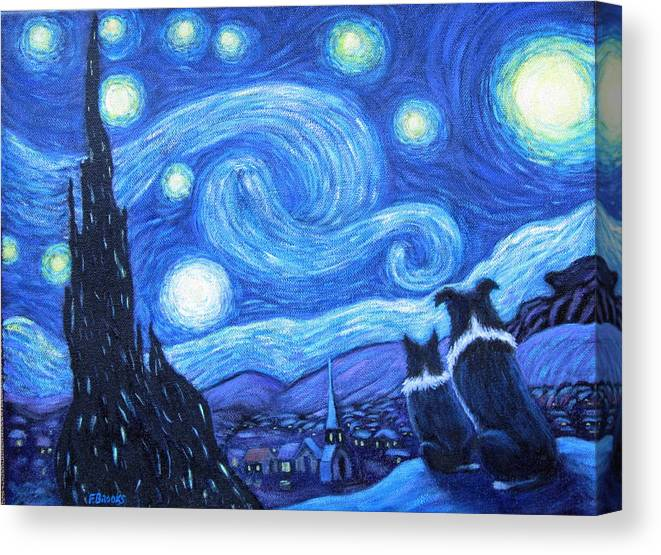 Starry Night Border Collies Canvas Print Canvas Art By Fran Brooks