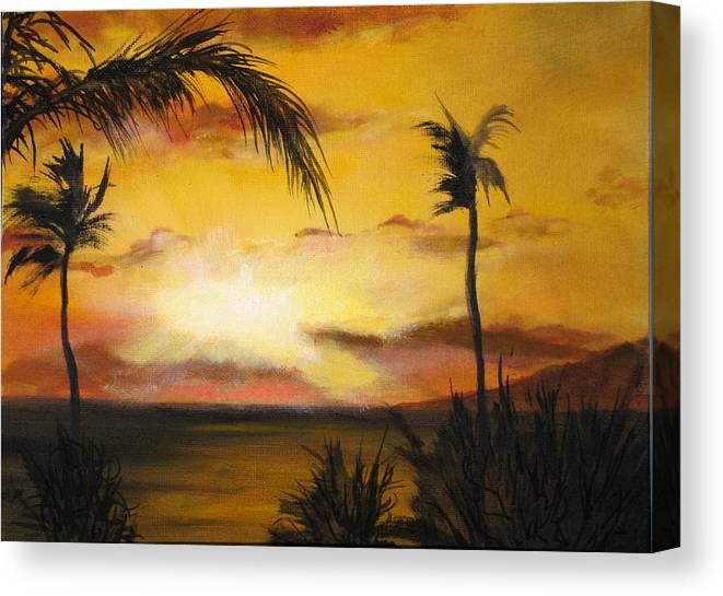 From The Maui Sunset Resort Canvas Print featuring the painting Sunset from the balconey by Thomas Restifo