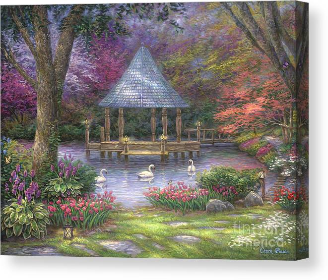 Commission Canvas Print featuring the painting Swan Pond by Chuck Pinson