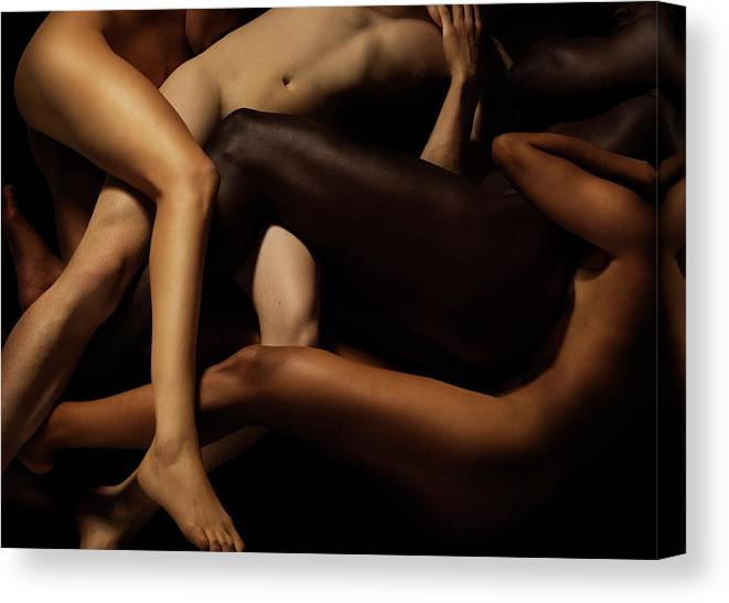 Young Men Canvas Print featuring the photograph Tangled Human Bodies Of Different Skin by Jonathan Knowles