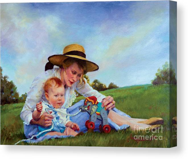 Mother Canvas Print featuring the painting The Birthday Gift by Jean Hildebrant