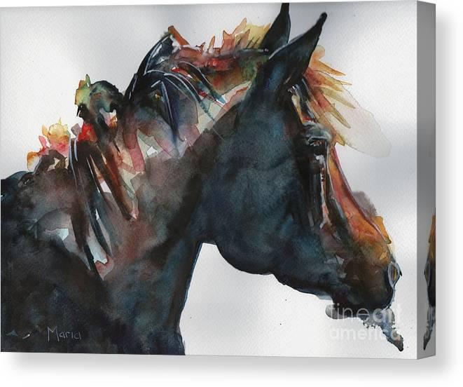 Black Horse Watercolor Digital Art