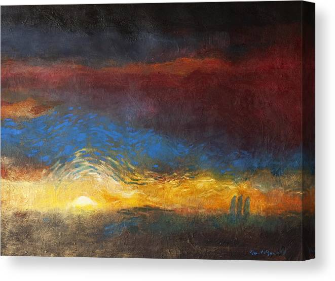 The Road To Emmaus Canvas Print featuring the painting The Road to Emmaus by Daniel Bonnell