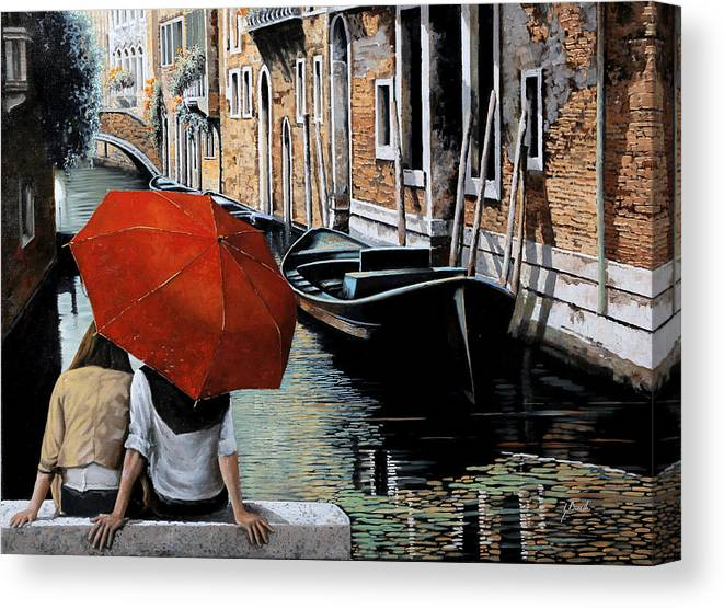 Canal Scene Canvas Print featuring the painting Uno Sguardo Al Canale by Guido Borelli