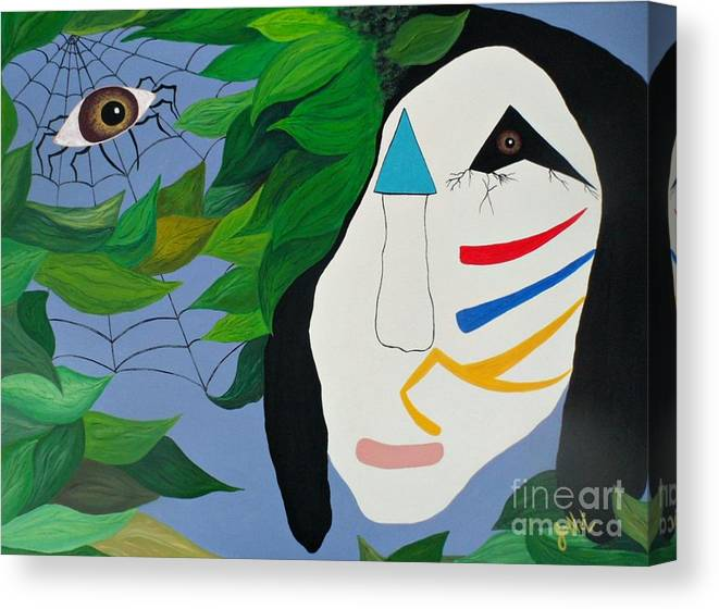 Abstract Canvas Print featuring the painting Voodoo Warrior by JoNeL Art
