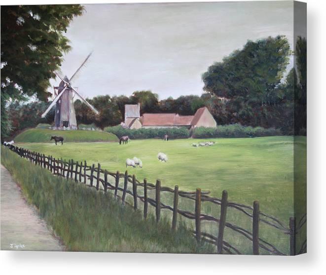 Farm Canvas Print featuring the painting Windmill on Farm by Jennifer Lycke