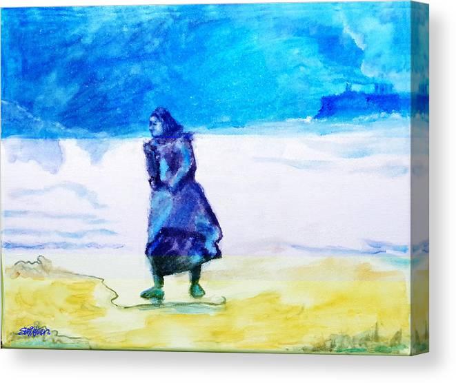 Winter Tide Walker Canvas Print featuring the painting Winter Tide Walker by Seth Weaver