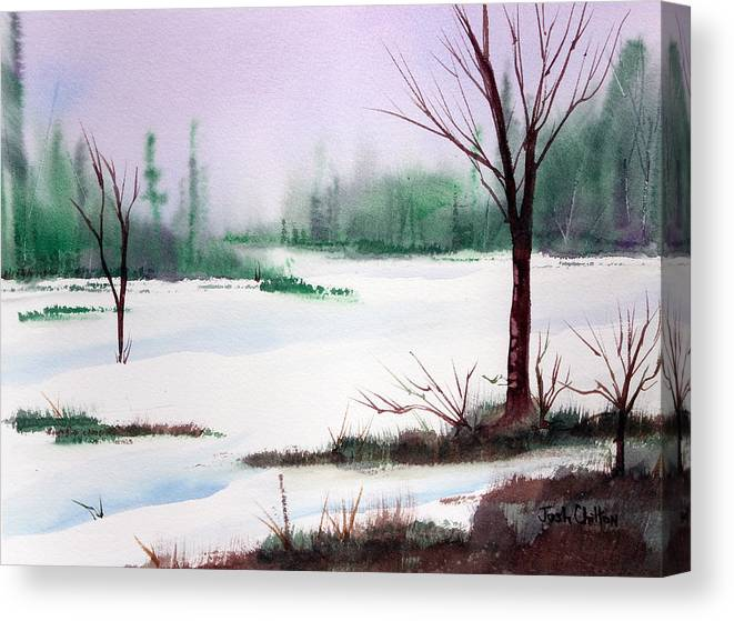 Snow Scene Canvas Print featuring the painting A Cold One. by Josh Chilton
