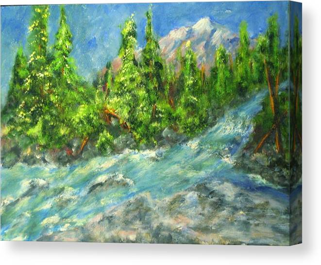 Glacier National Park Canvas Print featuring the painting Avalanche Creek by Thomas Restifo