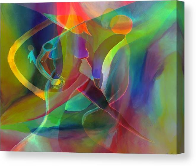 Abstract Canvas Print featuring the digital art 2 of Us Falling by Peter Shor