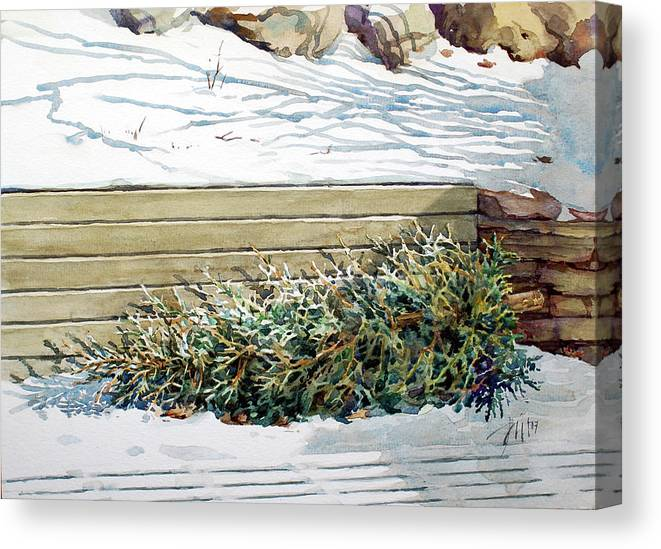 Peter Sit Watercolour Canvas Print featuring the painting After Christmas by Peter Sit