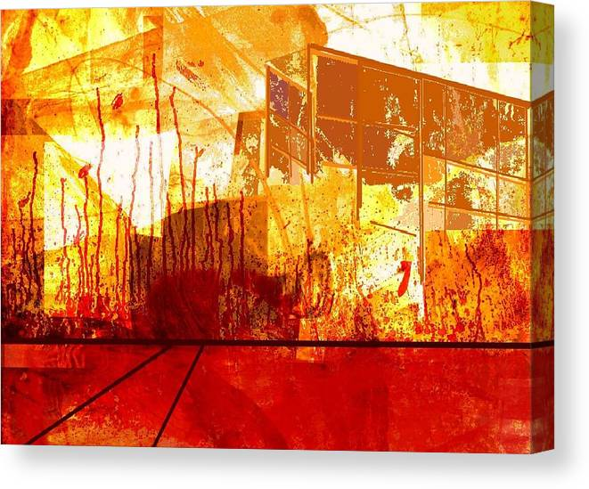 Abstract Canvas Print featuring the digital art City in red and yellow by Joseph Ferguson