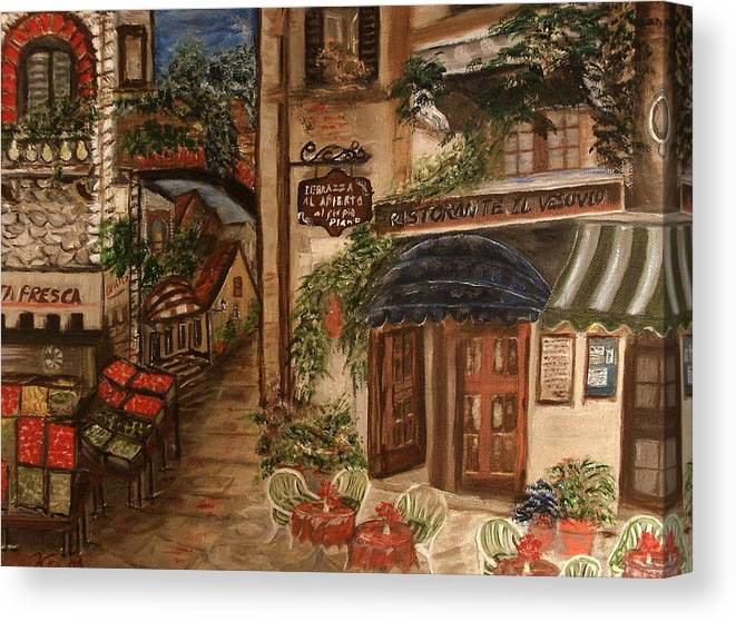 Landscape Canvas Print featuring the painting European Village by Kenneth LePoidevin
