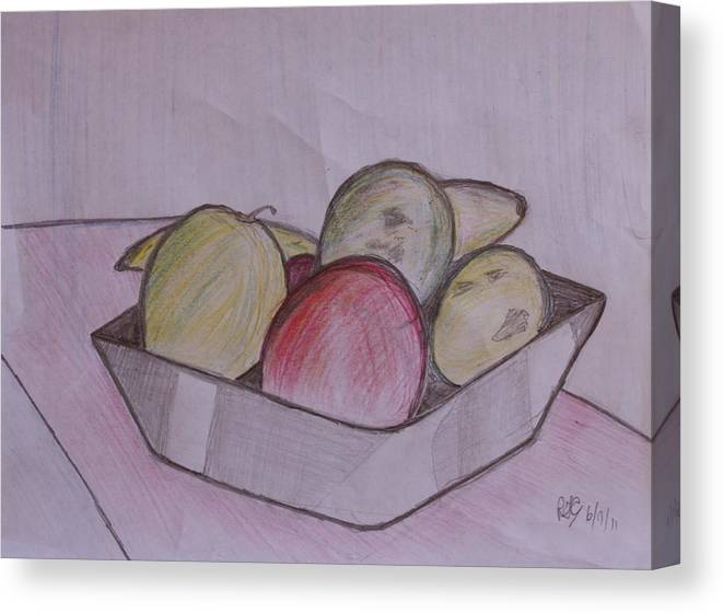 Pancil Canvas Print featuring the painting Fruit by Roger Cummiskey