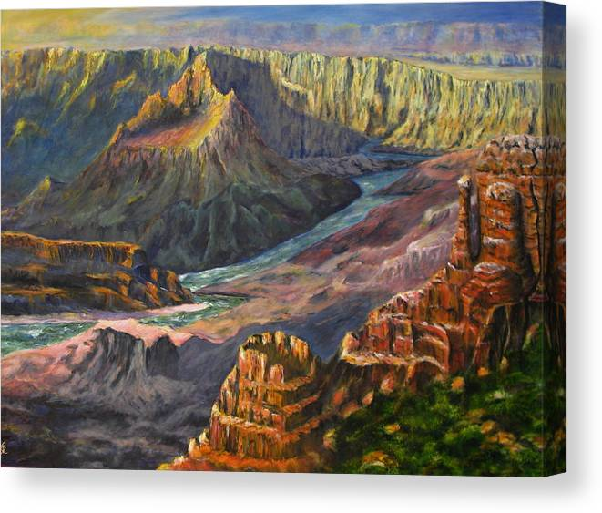 Grand Canyon Canvas Print featuring the painting Grand Canyon Shadows by Thomas Restifo