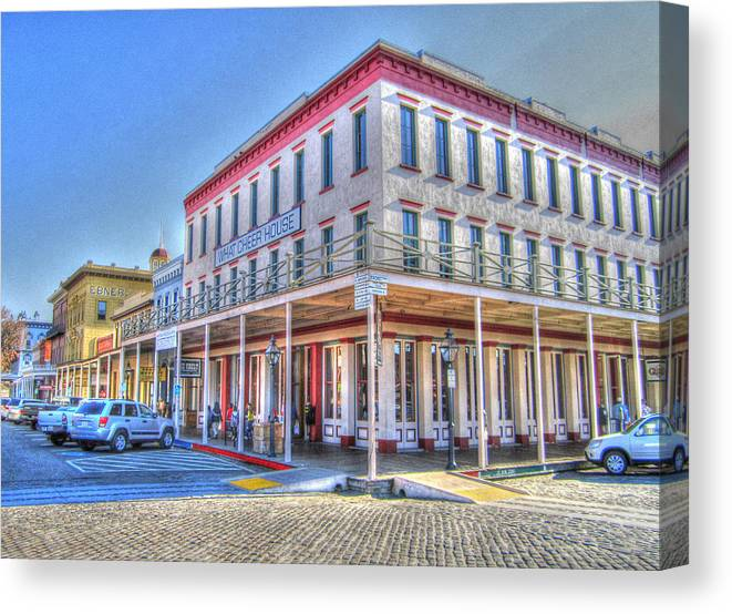 Street Corner Canvas Print featuring the photograph Old Towne Sacramento by Barry Jones
