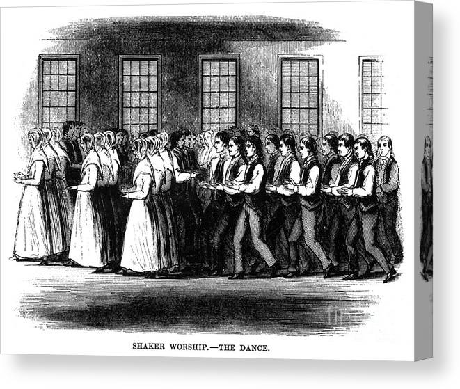 1875 Canvas Print featuring the photograph Shaker Worship by Granger