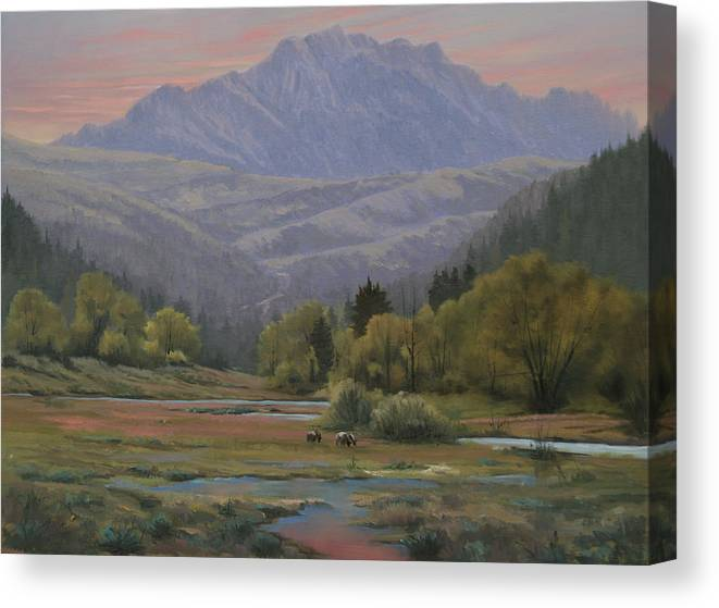 Landscape Canvas Print featuring the painting 070815-1814  Evening Over Long Scraggy Mt. by Kenneth Shanika