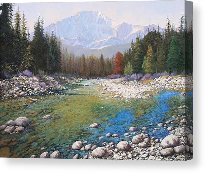 Landscape Canvas Print featuring the painting 080401-4030 Shallow Waters - Pikes Peak by Kenneth Shanika