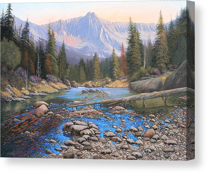 Rocky Mountain Landscape Canvas Print featuring the painting 080503-4836 Late Summer Run-Off by Kenneth Shanika