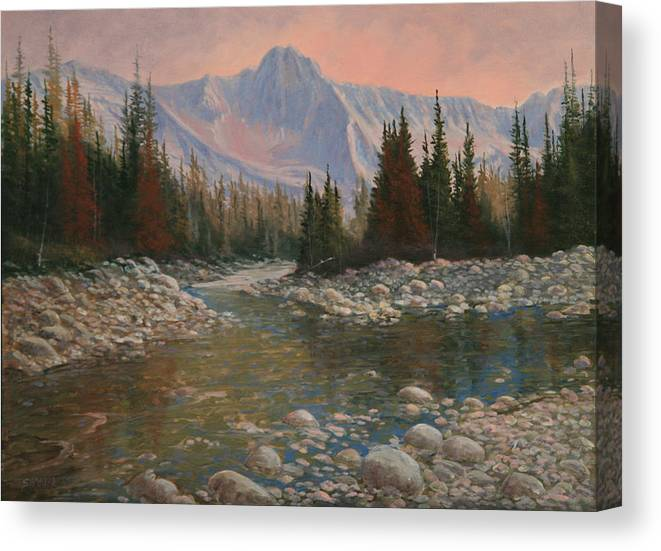 Original Oil Painting Canvas Print featuring the painting 090504-1216  Rocky Creek by Kenneth Shanika