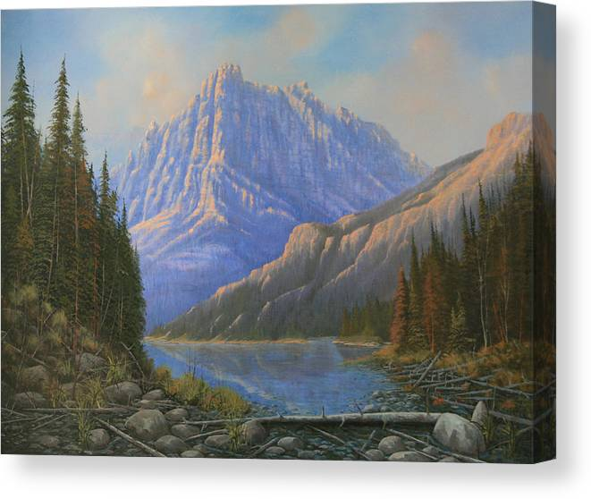 Landscape Canvas Print featuring the painting 090523-3040  Between Heaven And Earth by Kenneth Shanika