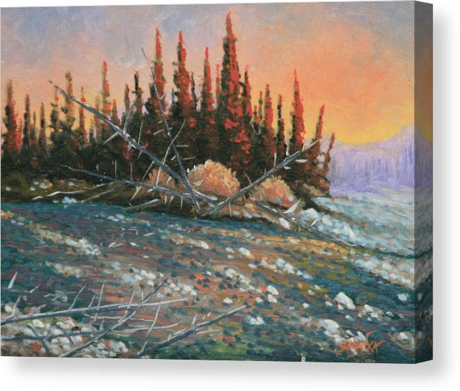 Landscape Canvas Print featuring the painting 090902-68 All Aglow by Kenneth Shanika