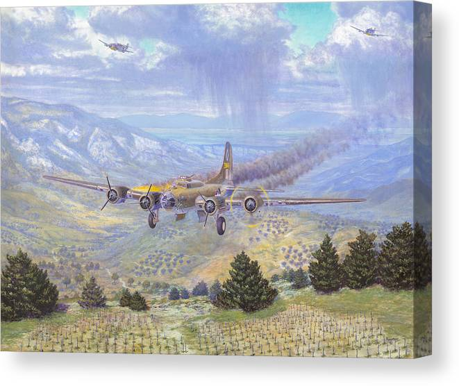 99th Bomb Group Canvas Print featuring the painting Her Majestys Last Landing by Scott Robertson