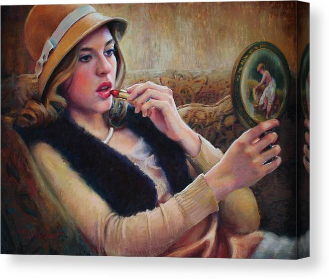 Beautiful Woman Canvas Print featuring the painting Lipstick by Jean Hildebrant