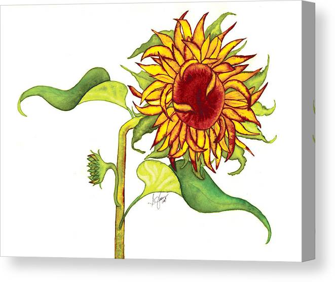 Floral Canvas Print featuring the painting Mari's Sunflower by Stephanie Jolley
