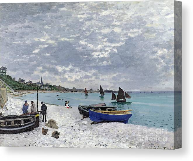 Coastal;french;rowing Boat;sailing;sainte Adresse; Boats Canvas Print featuring the painting The Beach at Sainte Adresse by Claude Monet