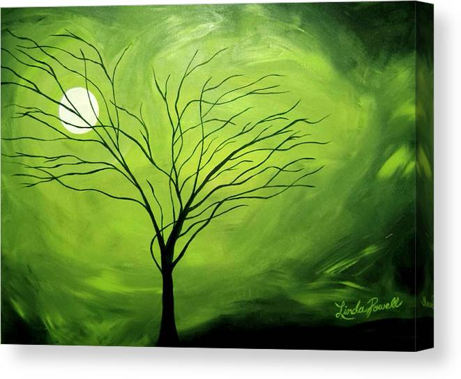 Abstract Acrylic Landscape Green Tree Moon Movement Canvas Print featuring the painting Green Night I by Linda Powell