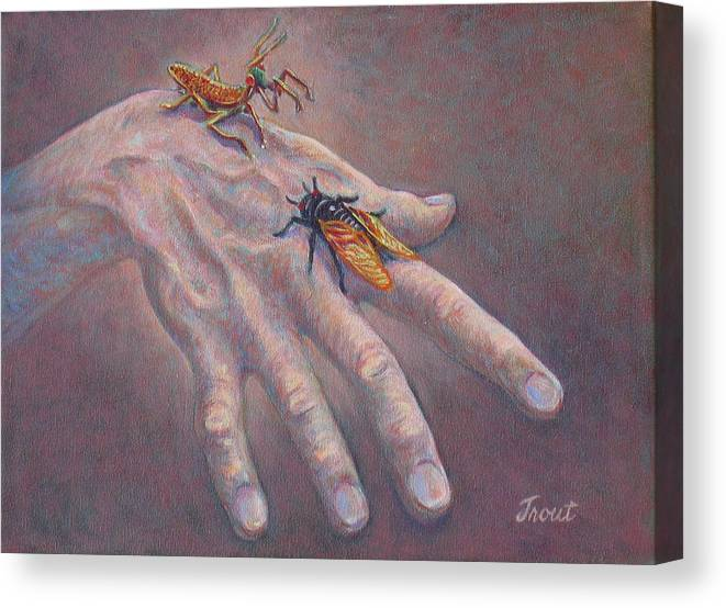 Oil Painting Canvas Print featuring the painting A Hand Of Bugs by Don Trout
