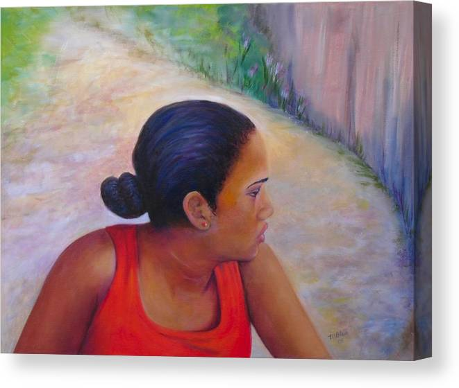 Portrait Canvas Print featuring the painting A Penny for Your Thoughts by Merle Blair