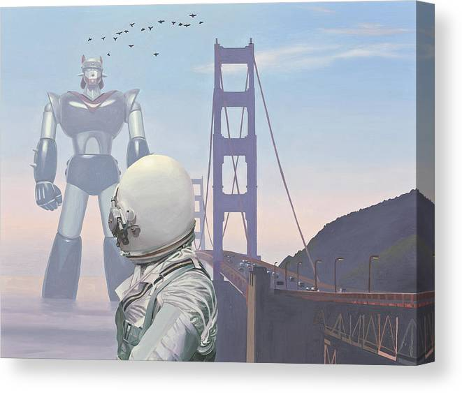 Astronaut Canvas Print featuring the painting A Very Large Robot by Scott Listfield